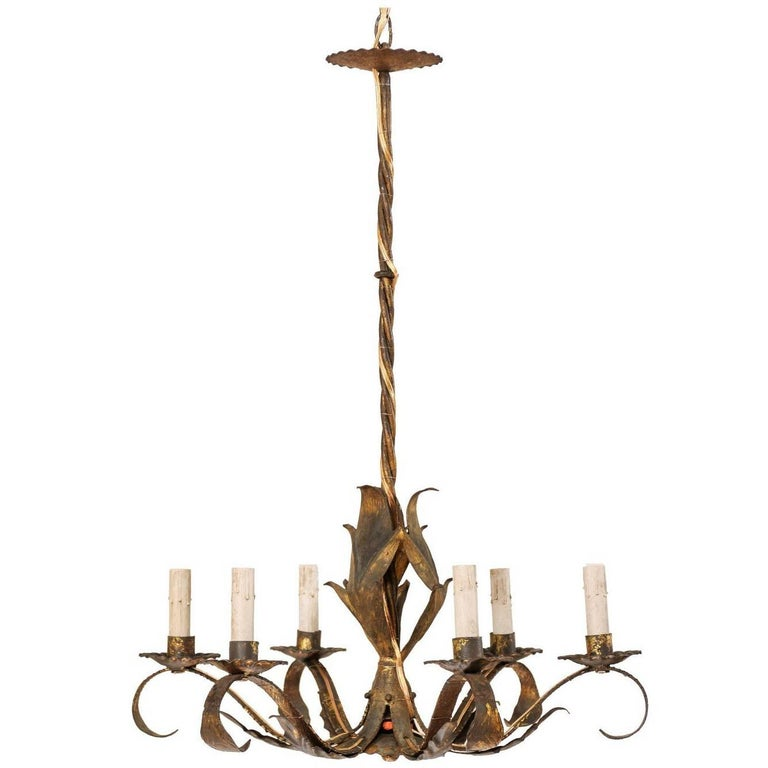 French Mid-Century Modern Six-Light Gold Brushed Iron Chandelier with Patina