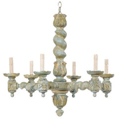 French Six-Light Barley Twist Wood Chandelier in Painted Tones of Blue and Cream