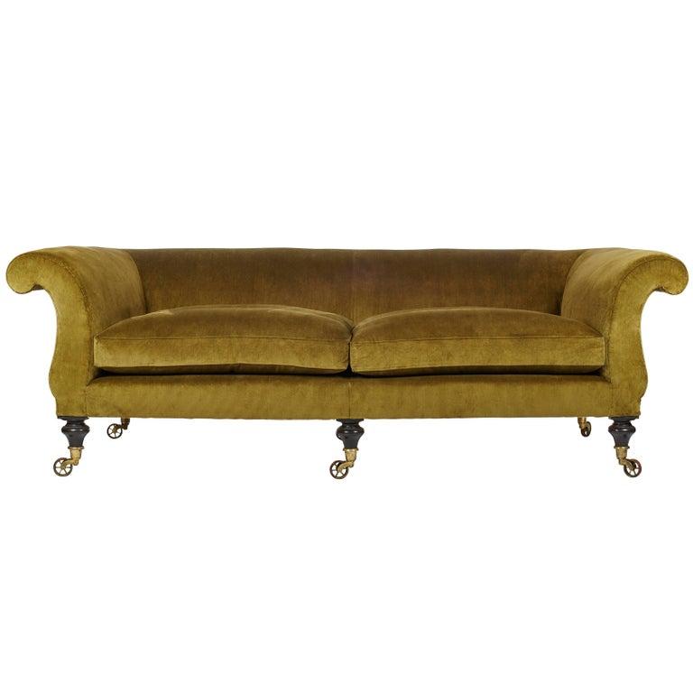 Upholstered 39 kinross 39 regency inspired sofa by ensemblier for Sofa bespoke