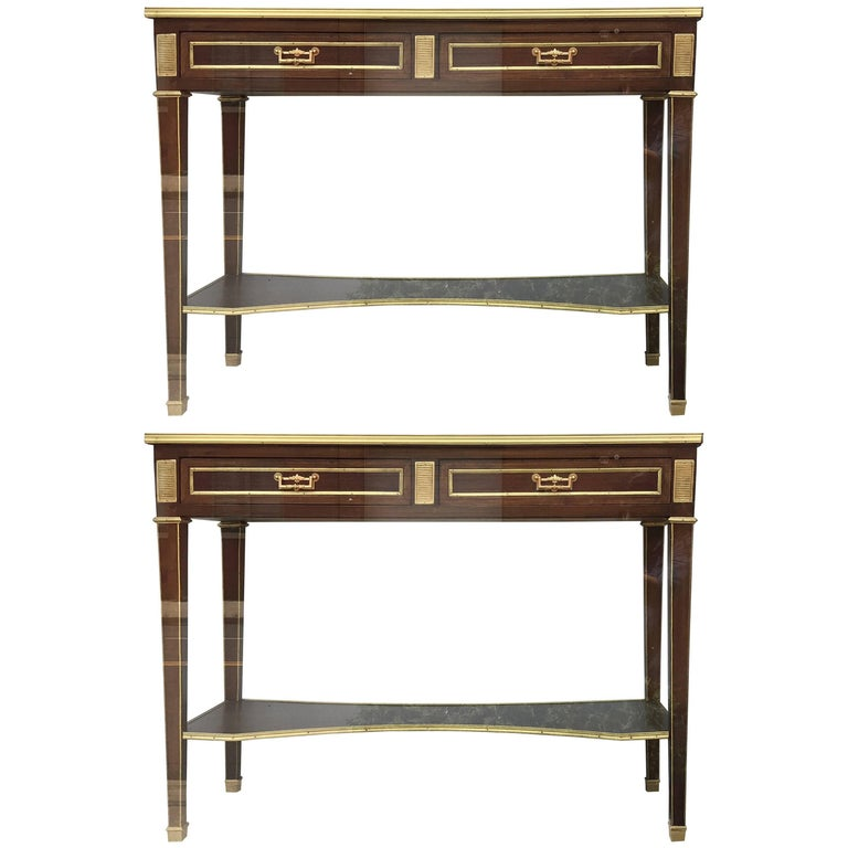 Pair of Jansen Style Two-Drawer Marble-Top Bronze Consoles or Serving Tables
