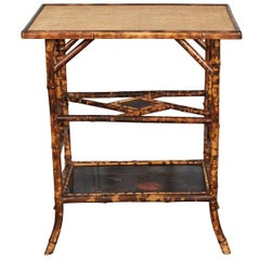 Victorian Bamboo Table with Lacquered Panels