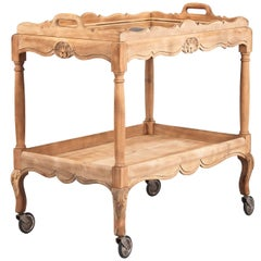 French Louis XV Style Natural Oak Bar Cart, 1940s