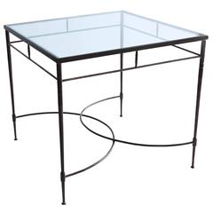 Italian Steel and Glass Patio Table