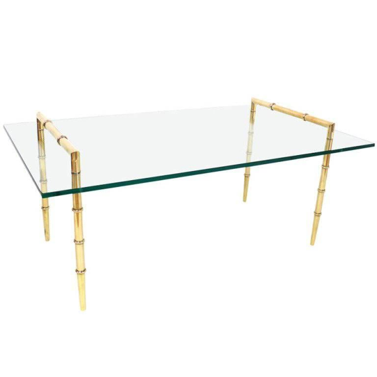 Faux Bamboo and Glass Cocktail Table