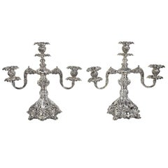 "Late 19th Century Silver Plate Reed and Barton Candelabras ""Renaissance"" Pattern"