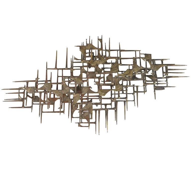 Max Levine Brutalist Bronze and Copper Abstract Wall Sculpture