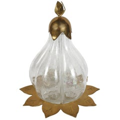 Italian Brass and Glass Pear Shaped Wine Decanter