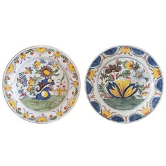 Pair of 19th Century Large Manganese Delft Plates