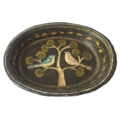 American Folk Art Papier Mâché Oval Dish