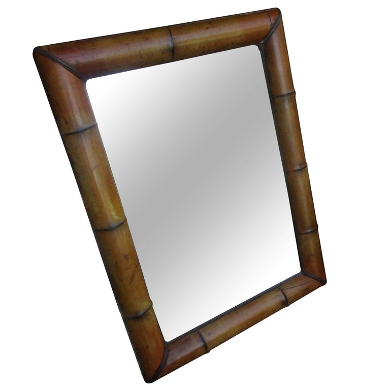 Vintage Bamboo Mirror with Beveled Mirror