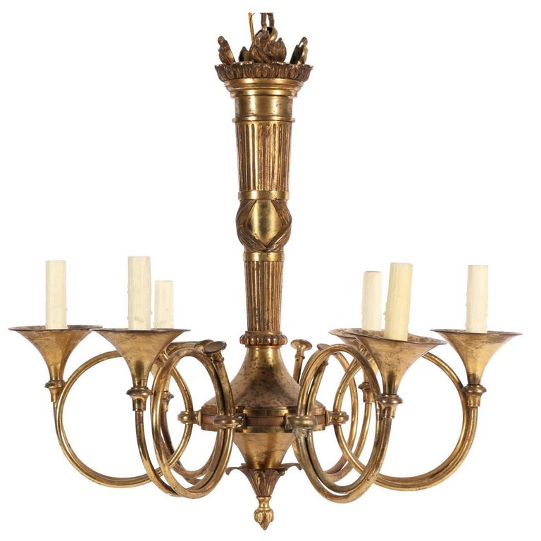 Vintage Solid Brass Six-Light French Horn Chandelier For Sale