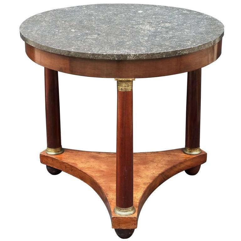 French Marble-Top Table or Guéridon in the Empire Style