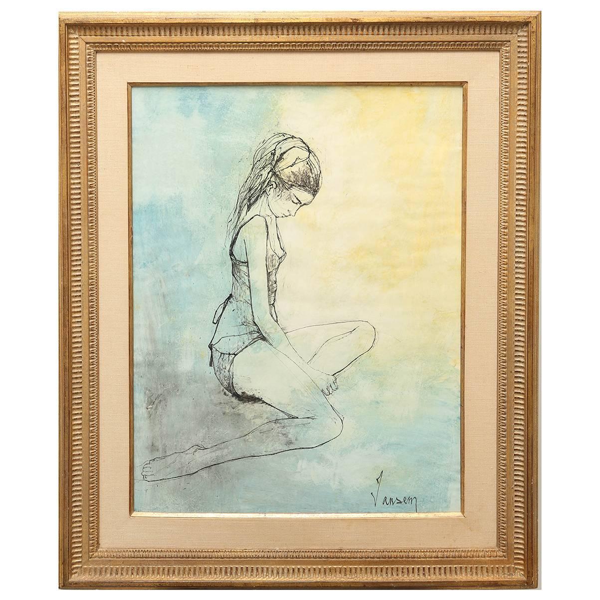 Original Watercolor Ballerina Painting by Jean Jansem