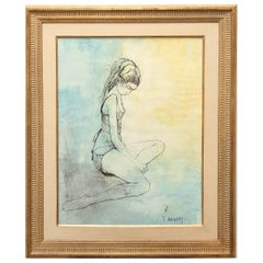 Original Watercolor Ballerina Painting by Jean Jansem