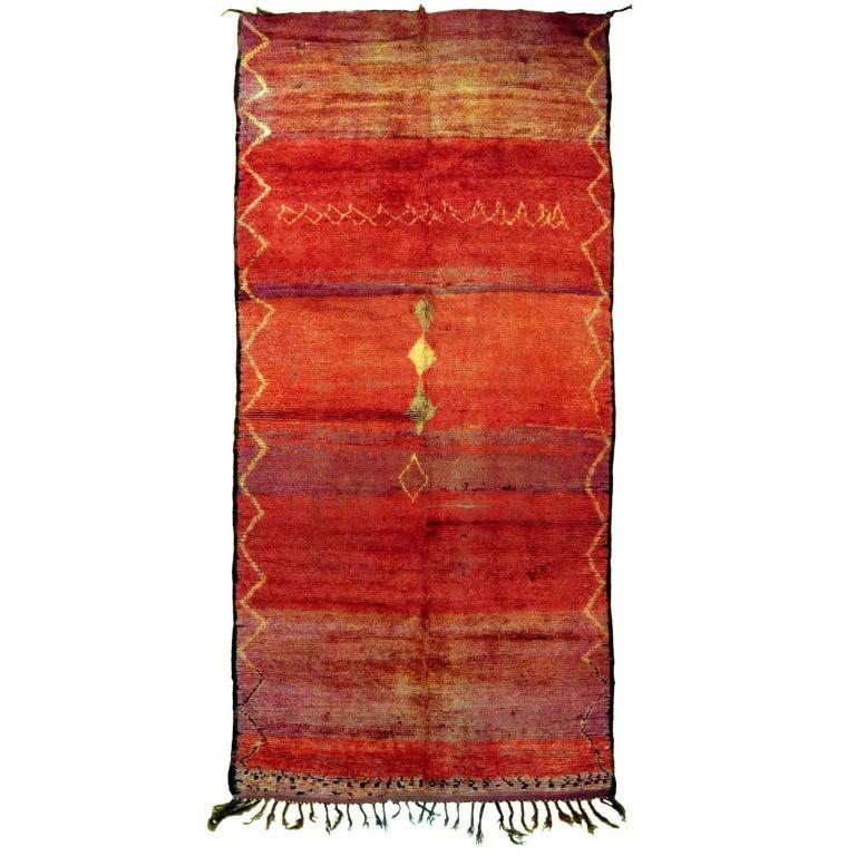 Vintage Red Moroccan Rug For Sale
