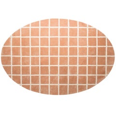 Pieces Kathy Modern Oval Shape Hand Tufted Grid Pattern Nude Color Rug Carpet