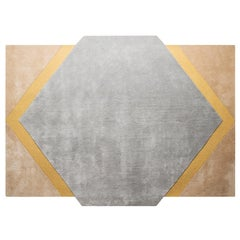 Pieces Modern Colorful Shape Octagon Rug Carpet Yellow Light Blue Hand Tufted