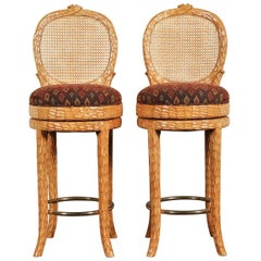 Pair of Carved Wood Swivel Stools