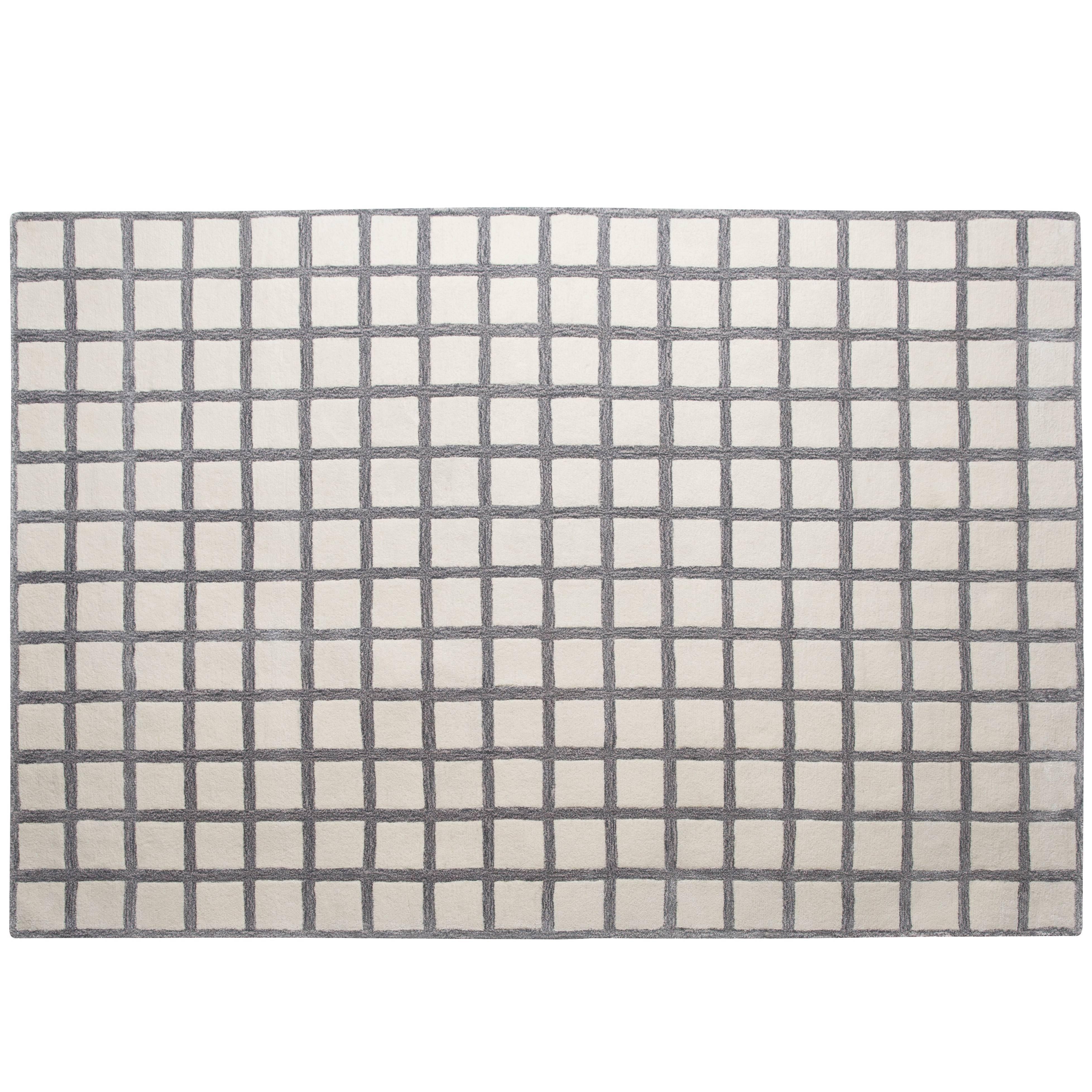 Pieces Maschi Geometric Grid Print Grey Neutral Hand Tufted Modern