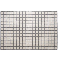 Pieces Maschi Geometric Grid Print Grey Neutral Hand Tufted Modern Rug Carpet