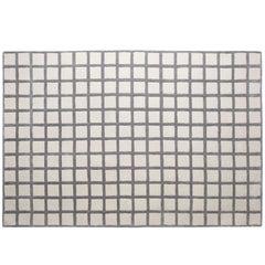 Grauer Moderner Handgetufteter Maschi Teppich mit Geometrischen Druck