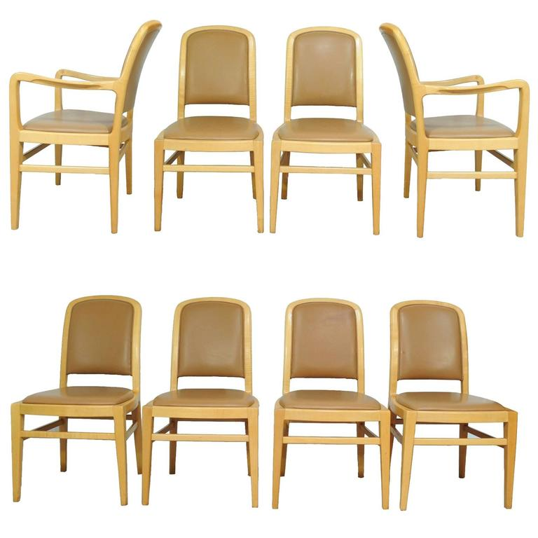 Eight Jack Lenor Larsen Mid Century Modern Maple And Leather Dining Chairs,  Set For