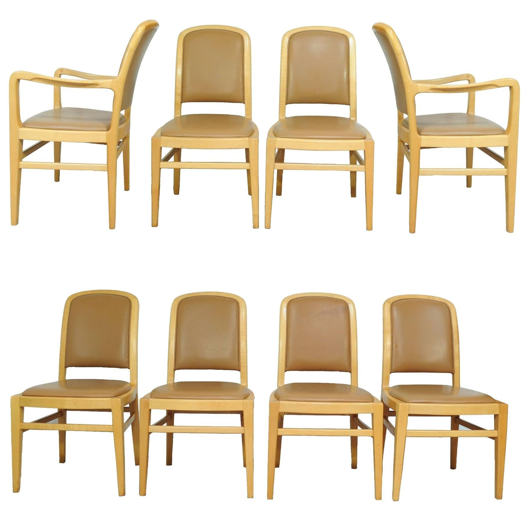 Set of 8 Jack Lenor Larsen Mid-Century Modern Maple and Leather Dining Chairs