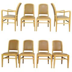 Eight Jack Lenor Larsen Mid-Century Modern Maple and Leather Dining Chairs, Set