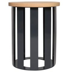 Float Side Table by Pieces, Modern Customizable End Table in Stone Wood Glass