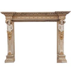 18th Century Georgian Fireplace Mantle with Carved Caryatid Vertical Figures