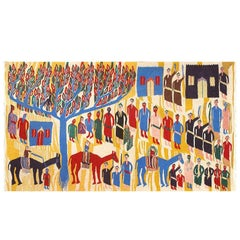 Vintage Judaic Purim Scene Tapestry. Size: 6 ft x 3 ft 9 in (1.83 m x 1.14 m)