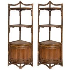 Bamboo Corner Cabinets, circa 1970s
