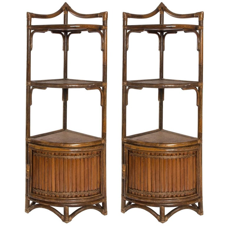 Bamboo corner cabinets circa 1970s for sale at 1stdibs for Bamboo kitchen cabinets for sale
