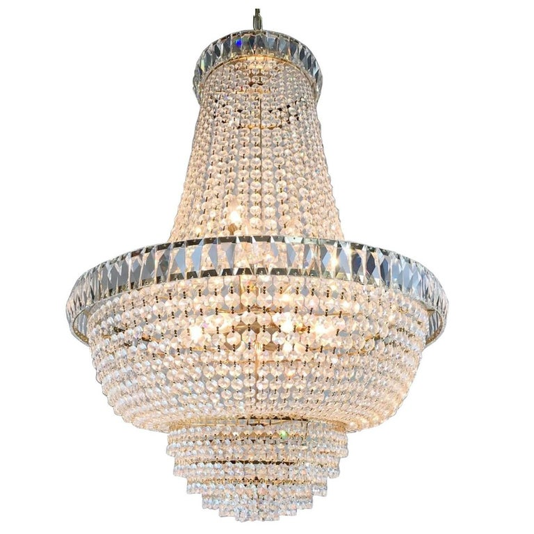 Nine-Light Crystal Chandelier For Sale