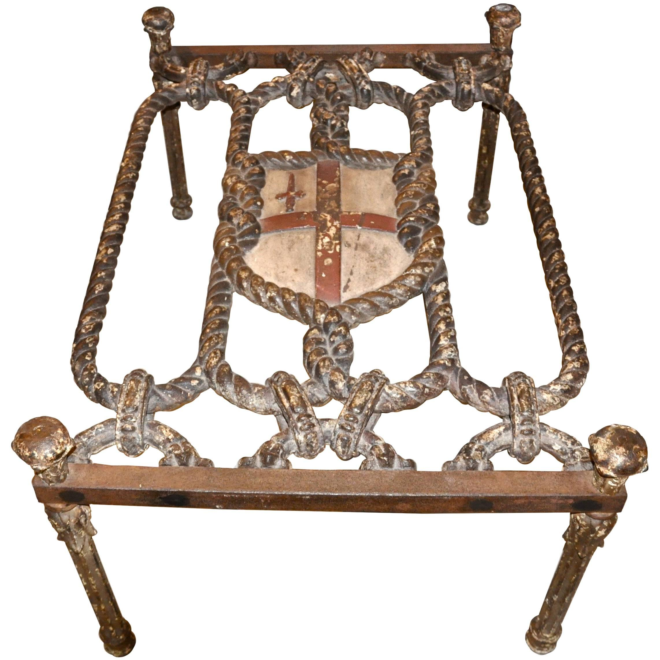 19th Century Iron Gate As Coffee Table, St. George And Order Of The Garter