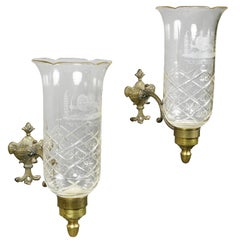 Pair of Regency Brass, Etched and Cut-Glass Hurricane Wall Sconces