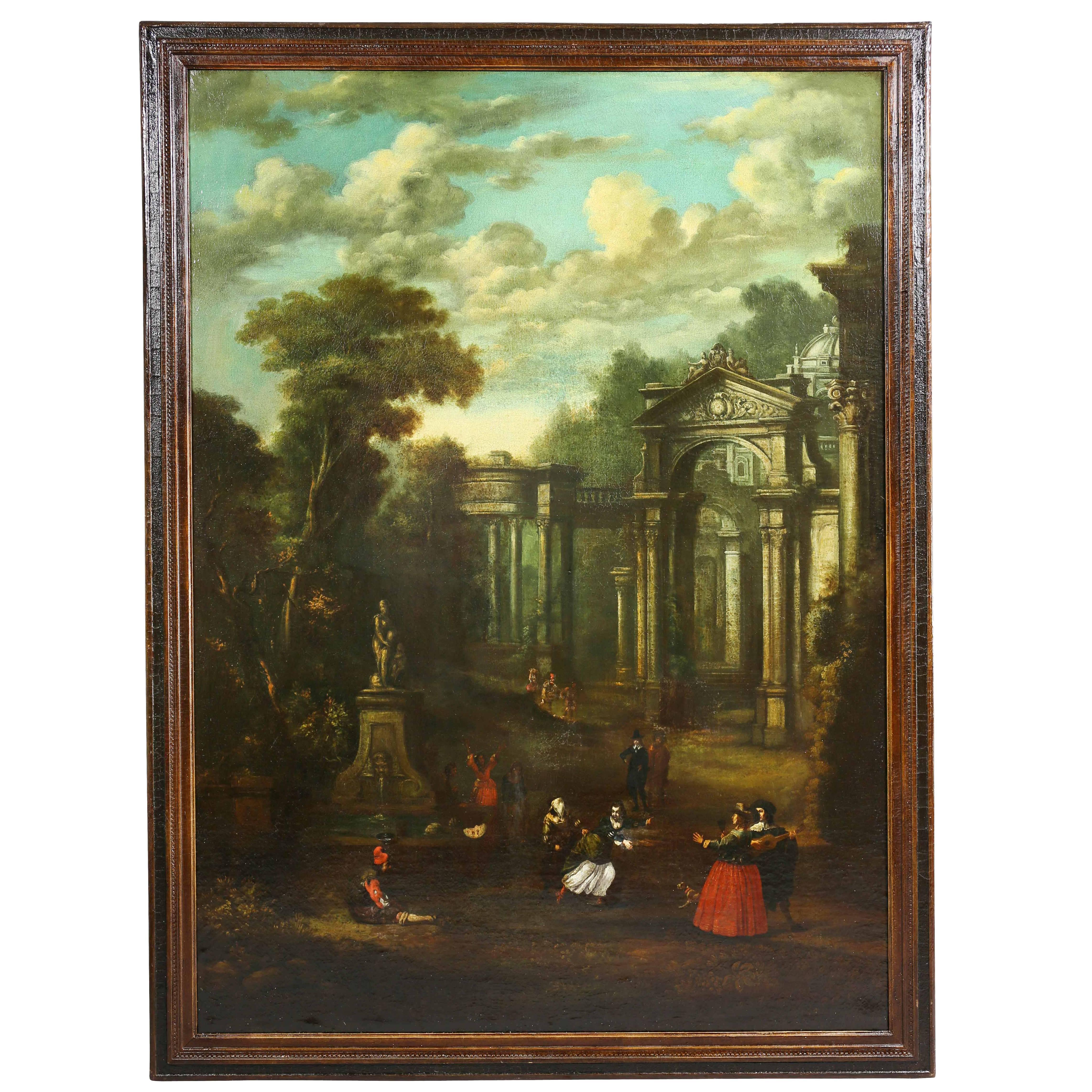 Flemish Oil on Canvas Capriccio by John Miel
