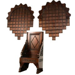19th Century Renaissance Carved Throne Armchairs with Two Decorative Wood Panels