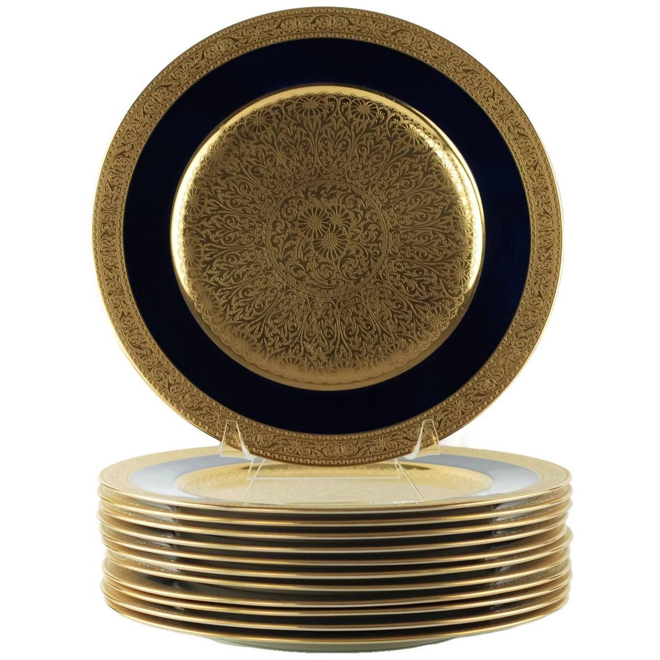 Set of 12 Lenox Cobalt and Gilt Encrusted Porcelain Cabinet Service Plates