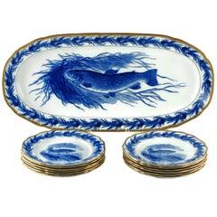 Set of 12 Gilt Edged Cauldon England Flow Blue Fish Plates with Oval Platter