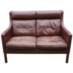 Borge Mogensen Brown Leather Settee, Produced by Fredericia Stolefabrik