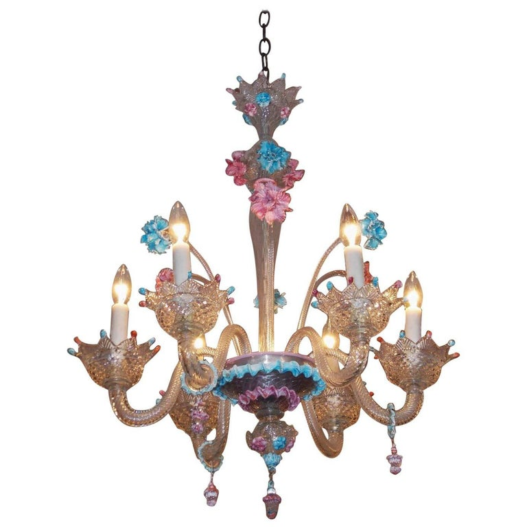 Murano Chandelier Color: Venetian Handblown Vibrant Colored Opaline Murano