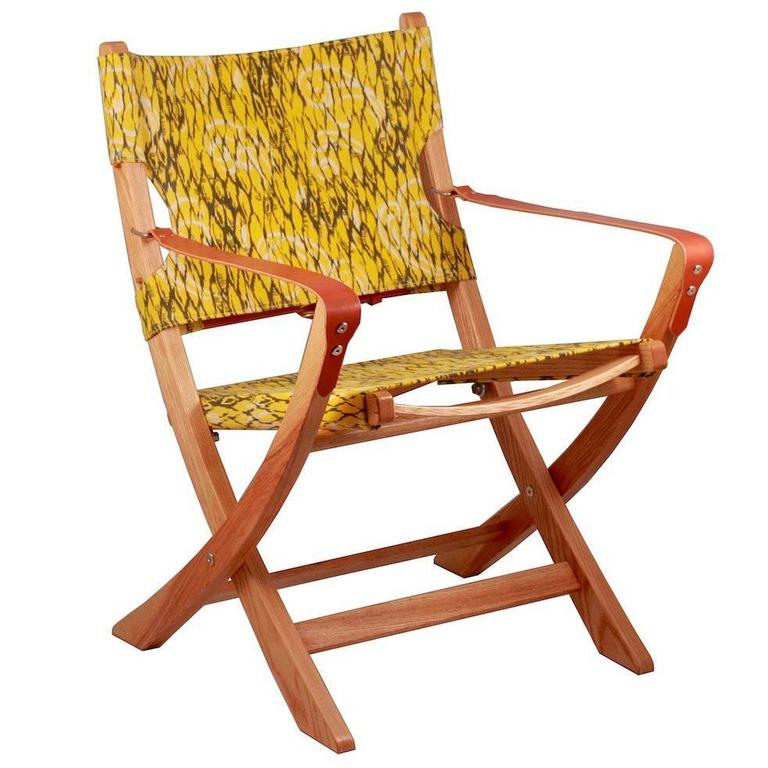 Campaign Chair Vintage Retro Fabric Yellow Leather Arm Straps Handmade Ash Frame For