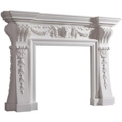 18th Century Style English White Hand-Carved Carved Marble Fireplace Mantel