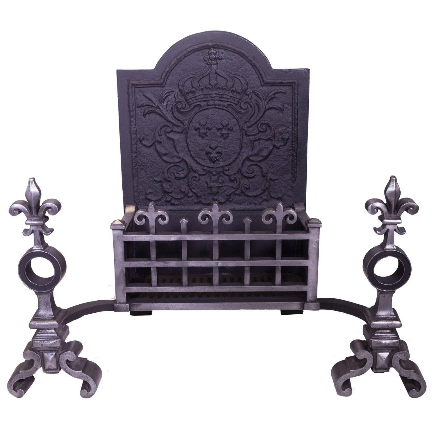 antique fire basket large victorian iron grate on andirons circa