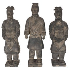 Set of Three Terracotta Chinese Burial Soldiers in the Manner of Qin Shi Huang