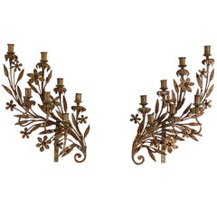 Spanish Wrought Iron and Gilt Candelabra circa 1850 Later Mounts