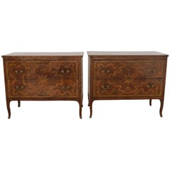 Extraordinary Pair of Italian Walnut & Pearwood Marquetry Two-Drawer Commodes