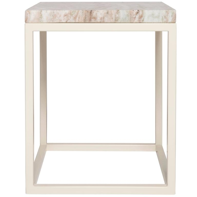 Frame Side Table by Pieces, Modern Customizable End Table in Stone Glass Wood For Sale