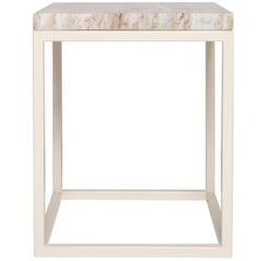 Frame Side Table by Pieces, Modern Customizable End Table in Stone Glass Wood